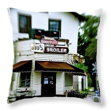 Bud's Broiler Throw Pillow by Scott Pellegrin