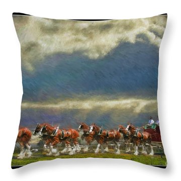Budweiser Clydesdale Paint 2 Throw Pillow