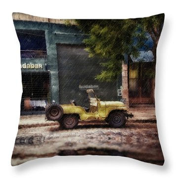 Buenos Aires Jeep Under The Rain Throw Pillow