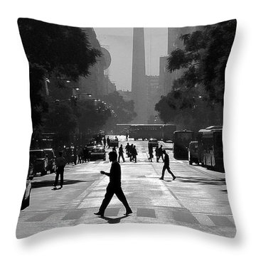 Throw Pillow featuring the photograph Buenos Aires Obelisk II by Bernardo Galmarini