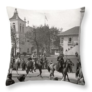 Throw Pillow featuring the photograph Buffalo Bill Columbian Exposition 1893 by Martin Konopacki Restoration