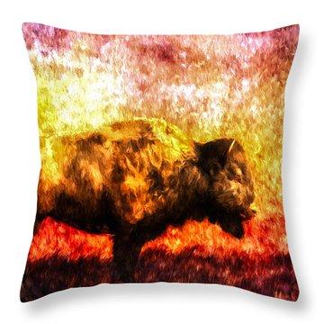 Buffalo Throw Pillow by Bob Orsillo