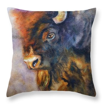 Throw Pillow featuring the painting Buffalo Business by Karen Kennedy Chatham