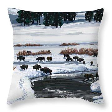 Buffalo Ford Winter Throw Pillow