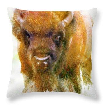 Da176 Buffalo II Daniel Adams Throw Pillow