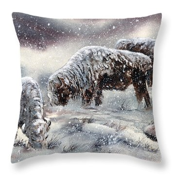 Buffalo In Snow Throw Pillow