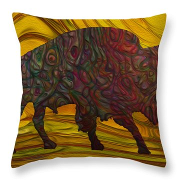 Buffalo Throw Pillow by Jack Zulli