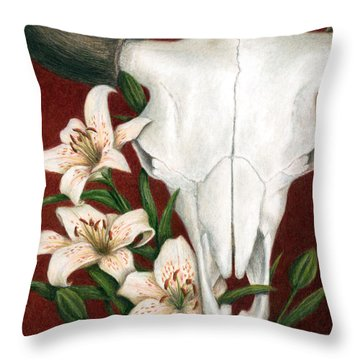Throw Pillow featuring the painting Buffalo Lilies by Pat Erickson