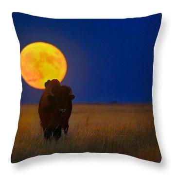 Buffalo Moon Throw Pillow by Kadek Susanto