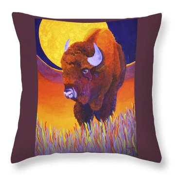 Throw Pillow featuring the painting Buffalo Moon by Nancy Jolley
