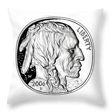 Buffalo Nickel Throw Pillow