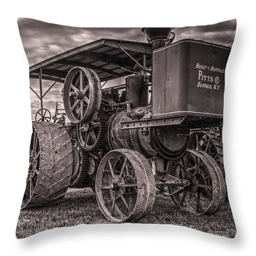 Buffalo Pitts Steam Traction Engine Throw Pillow