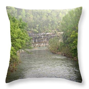 Buffalo River Mist Horizontal Throw Pillow by Marty Koch