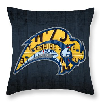 Buffalo Sabres Hockey Team Retro Logo Vintage Recycled New York License Plate Art Throw Pillow By