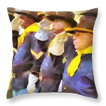 Throw Pillow featuring the painting Buffalo Soldiers by Wayne Pascall