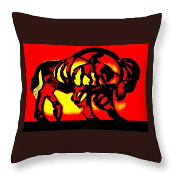 Buffalo Sun Set Throw Pillow