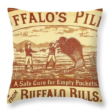 Throw Pillow featuring the photograph Buffalo's Pills Vintage Ad by Gianfranco Weiss