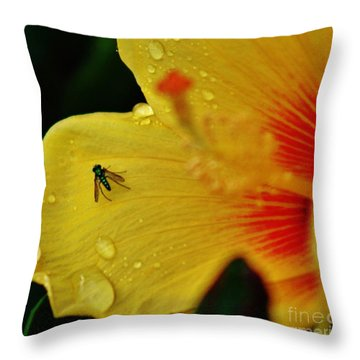 Bugged Hibiscus Throw Pillow