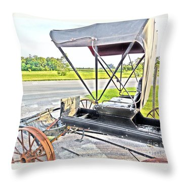 Buggy By The Road Throw Pillow by Eloise Schneider