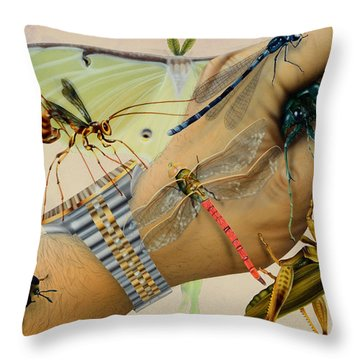Bughand Throw Pillow