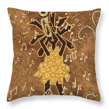 Bugle Player Throw Pillow by Katherine Young-Beck