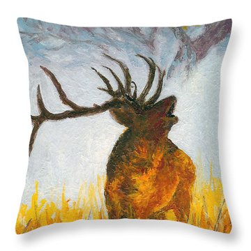 Bugling Elk Throw Pillow by Karen Mattson