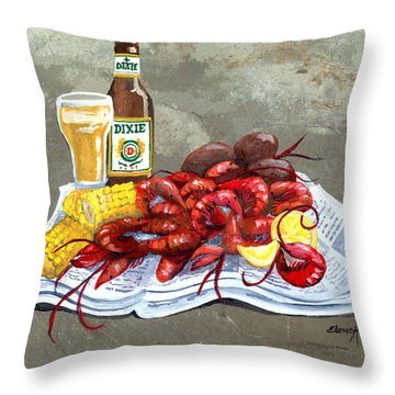 Bugs And Beer Throw Pillow by Elaine Hodges