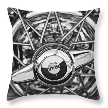 Buick Skylark Wheel Black And White Throw Pillow by Jill Reger
