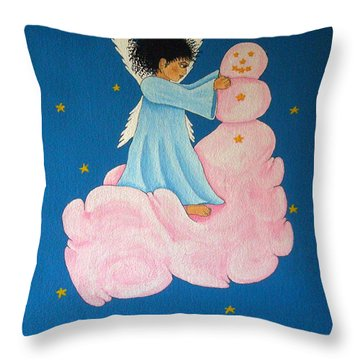 Building A Cloudman Throw Pillow by Pamela Allegretto