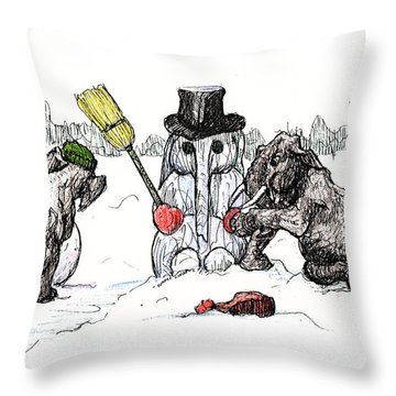 Building A Snow Elephant Throw Pillow by Donna Tucker