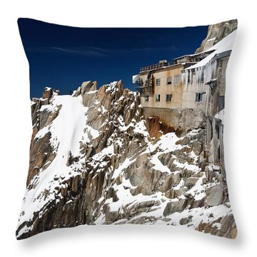 Throw Pillow featuring the photograph building in Aiguille du Midi - Mont Blanc by Antonio Scarpi