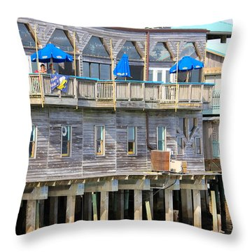 Building On Piles Above Water Throw Pillow