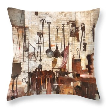 Building Trades - Hand Tools In Machine Shop Throw Pillow by Susan Savad