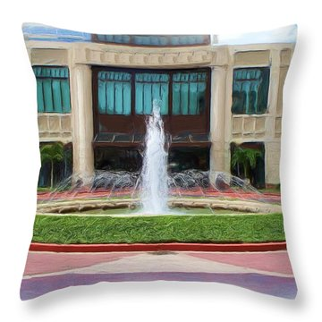 Throw Pillow featuring the digital art Building With Fountain Painting by Richard Zentner