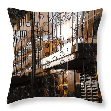 Building With Shimmering Circles Throw Pillow