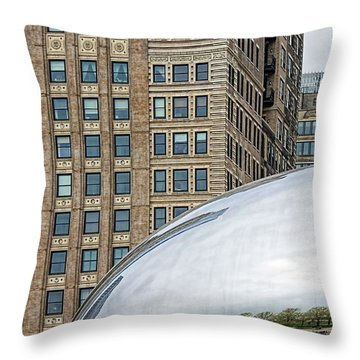 Buildings And The Bean In Color Throw Pillow