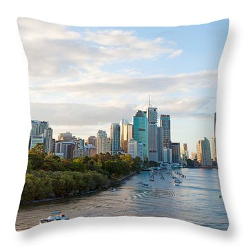 Buildings At The Waterfront, Brisbane Throw Pillow