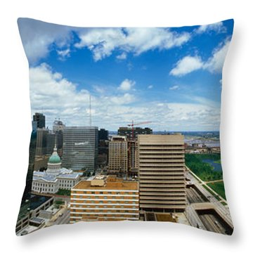 Buildings In A City, Gateway Arch, St Throw Pillow