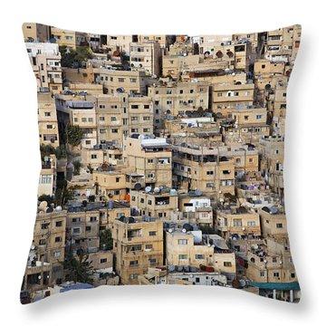 Buildings In The City Of Amman Jordan Throw Pillow by Robert Preston