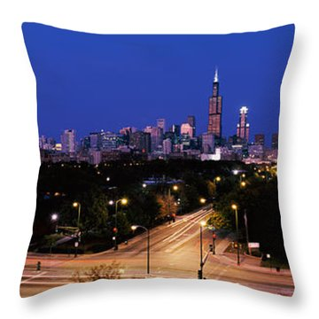 Buildings Lit Up At Dusk, Chicago Throw Pillow