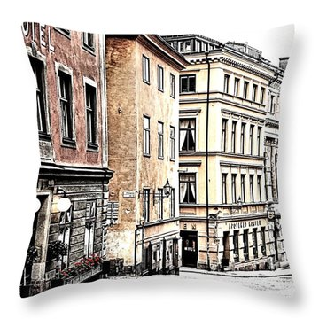 Buildings Of Gamla Stan Throw Pillow