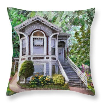 Throw Pillow featuring the painting Alameda 1895 Queen Anne by Linda Weinstock