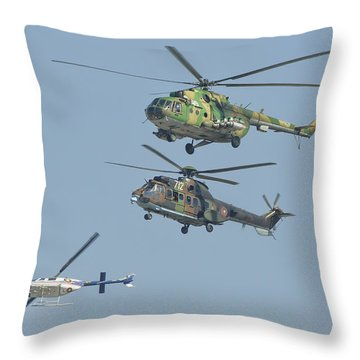 Bulgarian Air Force Helicopters Flying Throw Pillow