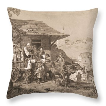 Bulgarians Near Varna, Printed By Lemercier, Paris Litho Throw Pillow