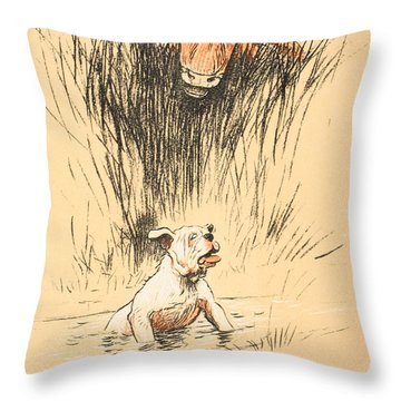 Bull And Dog In Field Throw Pillow by Cecil Charles Windsor Aldin