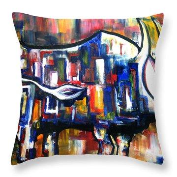 Bull At Sunset Throw Pillow
