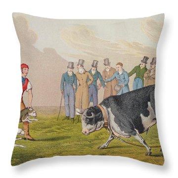 Bull Baiting Throw Pillow by Henry Thomas Alken