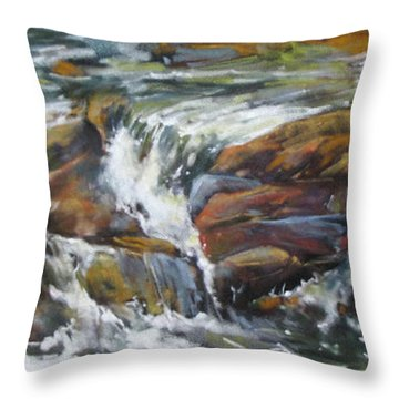Throw Pillow featuring the painting Bull Creek Escape by Rae Andrews