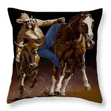 Bull Doggin' Throw Pillow by Hugh Blanding