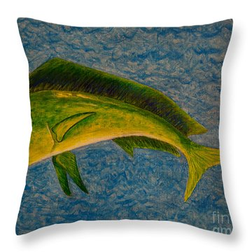 Bull Dolphin Mahimahi Fish Throw Pillow